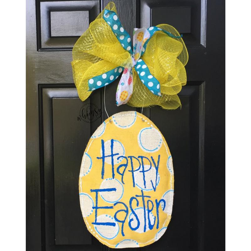 Polka dot egg yellow door hanger c whimsy