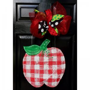 Plaid Apple Door Hanger