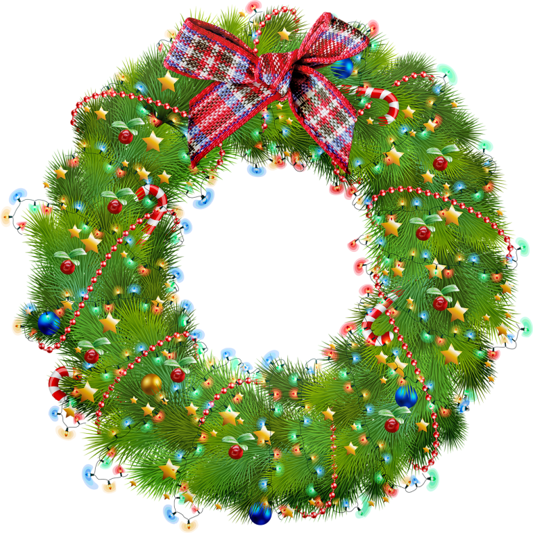 christmas wreath, lights, green
