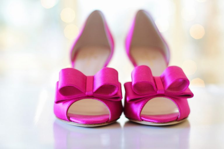 pink shoes, wedding shoes, bows