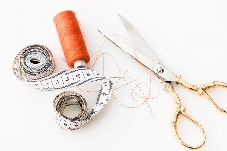 tape measure, scissors, fabric scissors